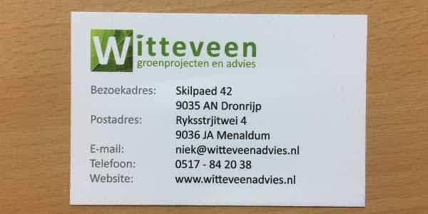Visitekaartje Witteveen advies